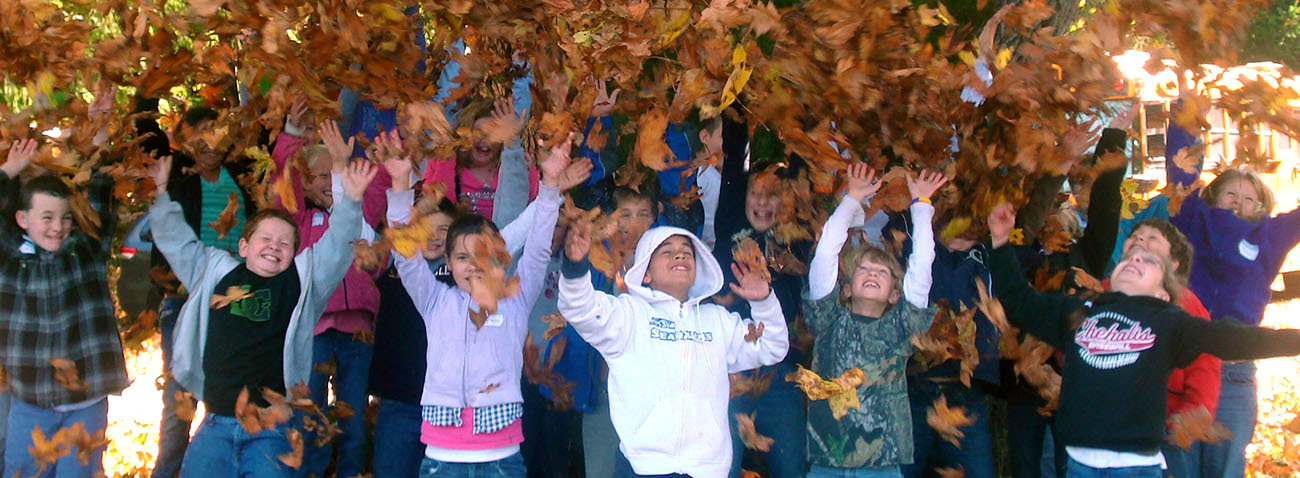 Leaf Throwing Kids